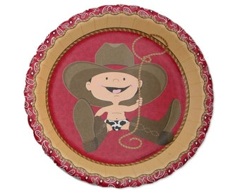 8 Count - Little Cowboy - Western Dessert Plates - Baby Shower or Birthday Party Supplies