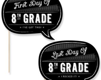 8th Grade - First Day & Last Day of School Photo Props - 8th Grade Photo Booth - Back to School Photo Prop - 2 Talk Bubbles