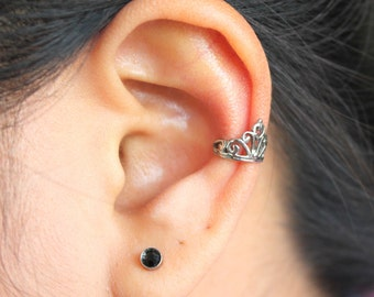 Princess Crown Ear Cuff, Stainless Steel 316L, Hypoallergenic.
