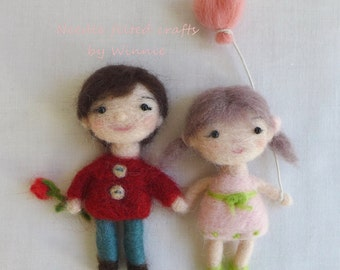 Needle felted Love dolls handmade wool couple OOAK
