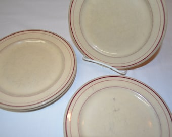 Glo Tan Carr China - SET of 4 - Dessert or Salad 7 1/4 inch Plates - Tan with Red Maroon Banding - Made in Grafton West Virginia