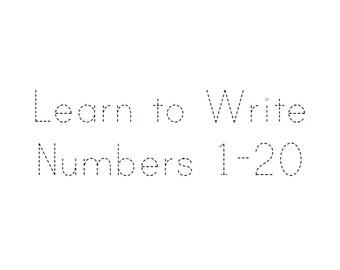 Number tracing workbook numbers 1-20, digital pdf download, printable counting worksheets