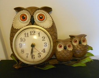 Vintage New Haven Owl Clock, Kitchen Clock