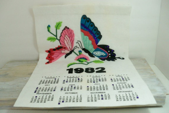 Vintage 1982 Wall Calendar - Butterflies and Flowers - Hanging Calendar - Felt with Pink and Purple Sequins - Handmade - Assembled from Kit