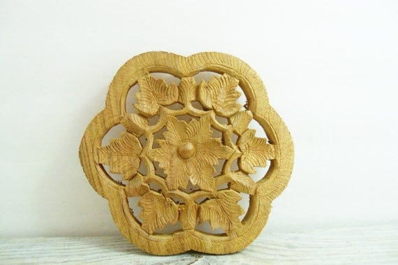Vintage Teak Wooden Trivet Six Hand Carved Flower Pedals Made In India With Leaves and A Daisy in the Center 1970s