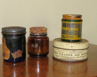 Vintage Ointment Jars and Saddle Soap can-free shipping USA