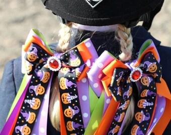Halloween Hair Bows for Horse Shows/pumpkins/beautiful bling