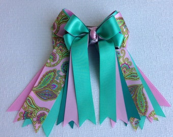 Equestrian Hair Bows,Beautiful Teal Green, Pink Paisley/Stunning