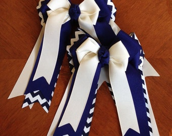 Equestrian Bows for Horse Shows/Beautiful Navy Blue Chevron