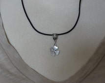 Black Leather Necklace with Antique Silver Four Leaf Clover Charm - Ready to Ship
