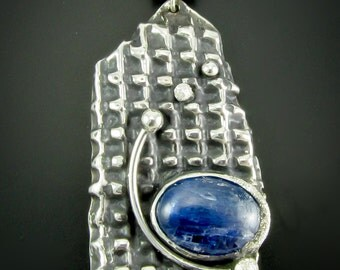 "Blue Kyanite Pendant Set in Sterling/Fine Silver  ""Sight"""