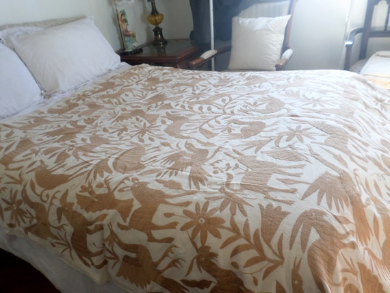 Otomi camel king size duvet hand embroidered by otomi Mexican embroidered bedding