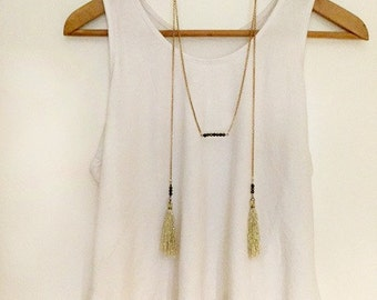Golden tassel necklace.  Elegant pyrite necklace. Bar necklace. Dainty long necklace. Golden necklace. Gatsby necklace