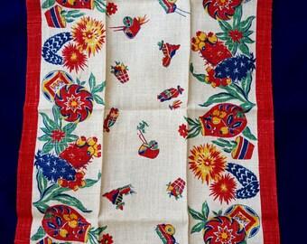 Vintage 1940's Ecru Fiesta Go Along Linen Tea Towel