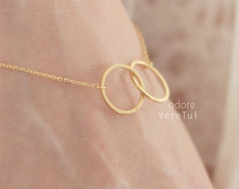 Double Infinity Circle Karma Ring Bracelet in Gold