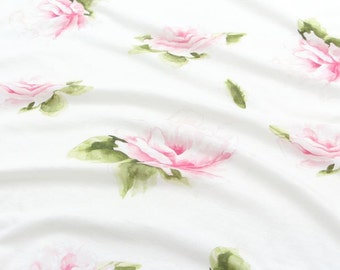 Rose Cotton Knit Fabric by Yard - White Ivory
