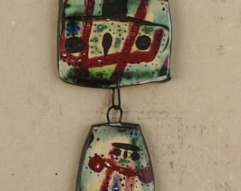 """Handmade decal ceramic glazed pendant art beads shard """"inner child"""""""