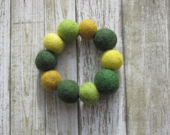 Handmade felt ball bracelet, bangle, Forest Green