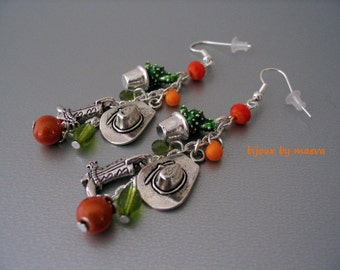 costume jewelry earrings orange and green ears Country