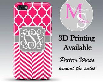 Monogram iPhone 6 Plus Case Personalized Phone Case Pink Striped Monogrammed iPhone 6 6S Case, Iphone 4 4S, iPhone 5 5S, iPhone 5C #2615