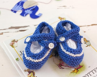 cutest baby booties // hand-knit // blue with white stripe