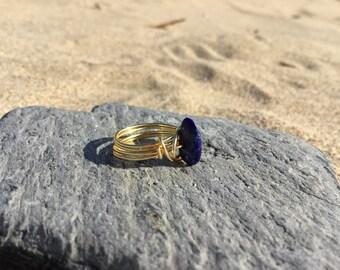 Size F Lapis Lazuli Gemstone wire wrapped Midi Knuckle ring