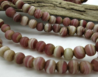 Round, Pink Mauve Old Nepalese Glass Beads, 8mm (20)