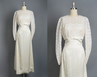 Vintage 1960s wedding dress // 60s lace wedding gown