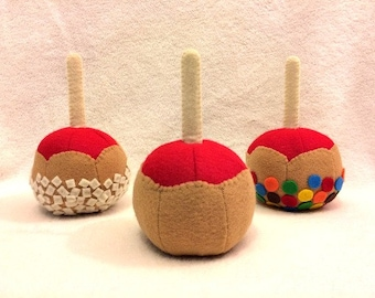 Caramel Apples, Felt Food, Pretend Play, Plain or with Toppings