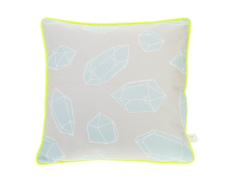 Grey Cushion - Neon Yellow Piping - Fluorescent Pillow - Throw pillow - Crystal Gem Diamond Homewares Cute Gift Unique Gift Mint Yellow
