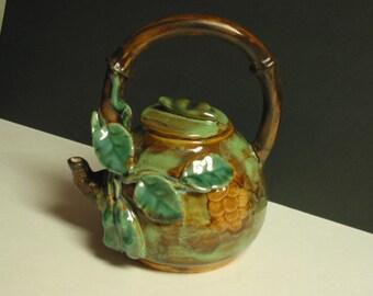 Stunning Vintage Glazed Ceramic Tea Pot With Vine And Wood Design