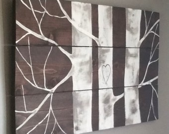 Hand painted aspen tree reclaimed wood sign..personalize with your initials. Great wedding or anniversary gift