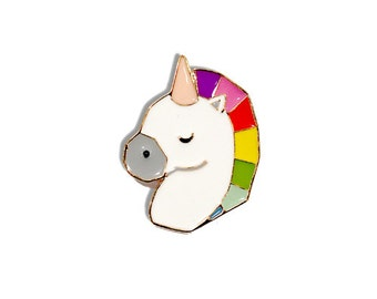 rainbow unicorn enamel pin