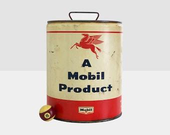 5 gallon mobile oil can, mobile pegasus oil can, vintage pegasus oil can, pegasus can, mobile oil can, 5 gallon oil can, mobile oil can