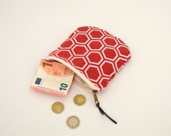 small pouch, zippered pouch, coin purse, credit card case, japanese pattern, japanese bag, red pouch