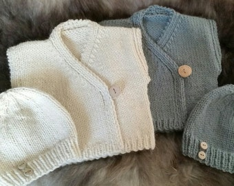 Beginner's Baby Cardigan with Hat Knitting Pattern PDF | Baby's Wrap-over Top with Hat | Baby Shower | The Little Songbird Knitting Co