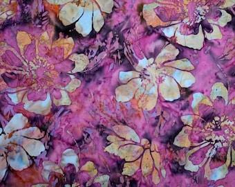 Batik Purple Flower Fabric #BK336, sold by the 1/4yrd-1/2yrd-1 yard