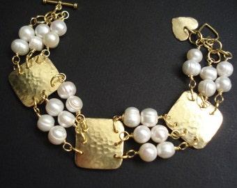 Hammered Bronze Pearls Bracelet Metalwork Beaded Bracelet Modern  Handcrafted Bracelet
