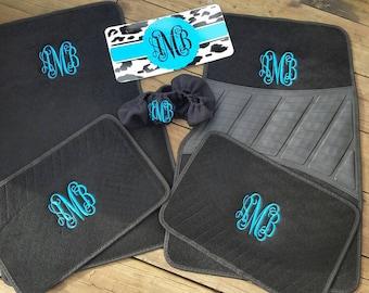 Monogram mat. Complete set. Embroidered car mats.