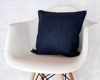 Natural Flax Linen Handmade Decorative Deep Blue Navy Pillow Cover - Throw pillow cover - Sham