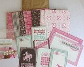 scrapbooking paper kit, Pink & Brown, COWGIRL paper kit, Rodeo paper, mini scrapbook paper kit, paper bag albums kit,