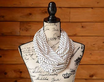 Gifts For Her, Women's Accessories, Cream Infinity Scarf, Women's Scarf, Polka Dot Scarf, Circle Scarf, Black Cream Scarf, Black Cream Snood