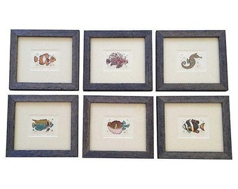 Hand-Colored Fish Engravings, Set of 6