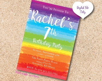 RAINBOW Paint Art Party Birthday Printable Invitation, Personalized For You, Digital File