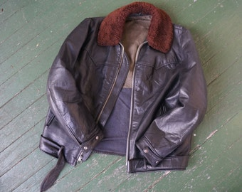 EUROPEAN LEATHER MOTORCYCLE Jacket:  Size 44-42