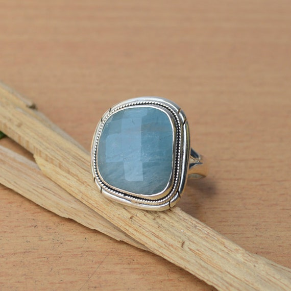 AAA Aquamarine Gemstone Ring, Natural Aquamarine Jewelry, 925 Sterling Silver Jewelry, Faceted Cut Aqua Ring, Gift For Her, Ring Size 7