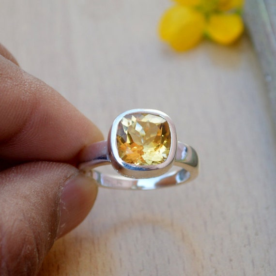 Citrine Ring, Silver Ring, November Birthstone Ring, Birthday Ring, Luck Energy Ring, Healing Ring, 925 Sterling Silver Bezel Ring Size 10