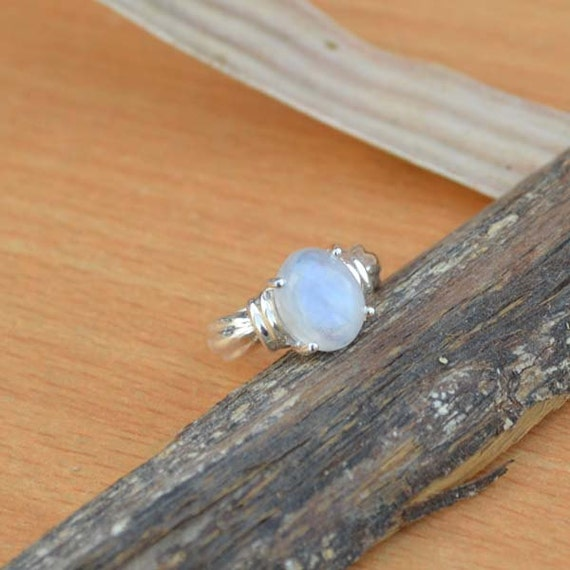 AAA Rainbow Moonstone Gemstone Ring, Moonstone Ring, Solid 925 Sterling Silver Ring, June Birthstone Ring, Classic Gift Ring Size 5.5