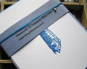 Letterpress blank note cards Mallard blue steam train pack of 5