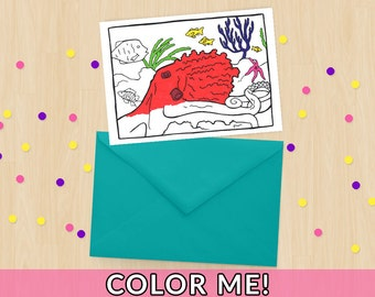 Octopus Coloring Card - Animal Coloring - Sea Coloring - Ocean Coloring - Seattle PNW Giant Pacific Octopus - Aquarium - Adult Coloring Card